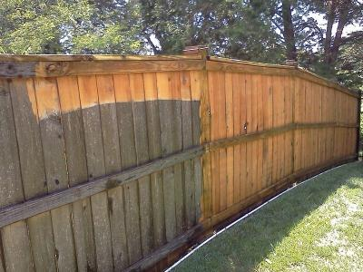 Power Washing (removing years of built up gunk from a wooden fence)
